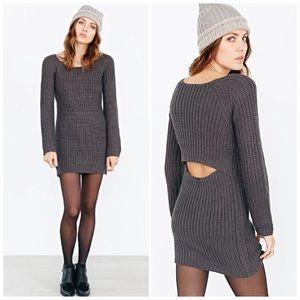 Silence & Noise Open Surplice Back Sweater Dress